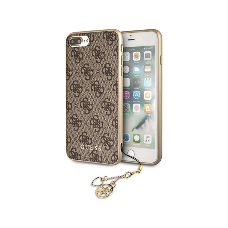 new arrival 58cf8 48491 Guess Charms Hard case etui do iPhone 7 Plus / 8 Plus - brązowe